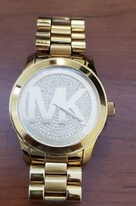 Michael Kors Gold MK Logo w/ Pave crystals